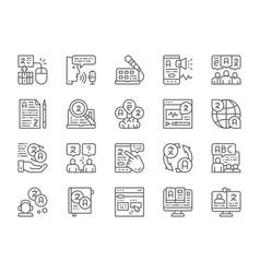 Set language translation line icons education vector