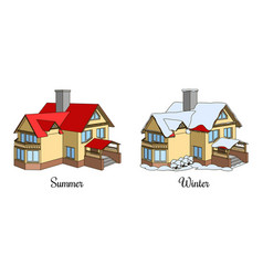 set of two houses in summer and winter time vector image
