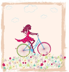 Silhouette of girl on bike vector