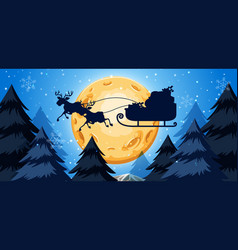 silhoutte of sleigh night scene vector image