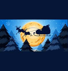 Silhoutte of sleigh night scene vector
