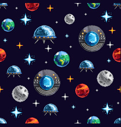 Space repeat pixel background vector