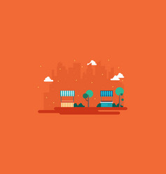 street stall with city on orange background vector image