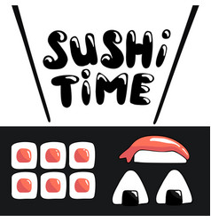 sushi time cartoon banner template with lettering vector image