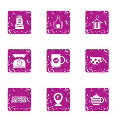 Tea ceremony icons set grunge style vector