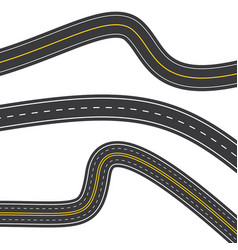 Template set winding asphalt roads isolated on vector