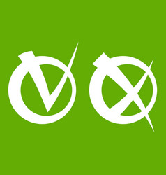 tick and cross in circles icon green vector image