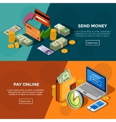 Two Horizontal Isometric Bank Service Banners vector