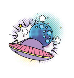Ufo flying with moon pop art style vector