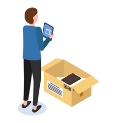 Unpacking parcel with electronic gadgets man vector