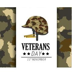 Veterans day celebration and helmet uniform vector
