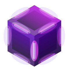 Violet cube icon isometric style vector