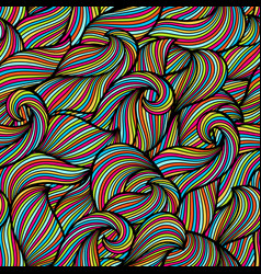 Wavy curled seamless pattern abstract outline vector