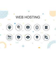 Web hosting trendy infographic template thin line vector