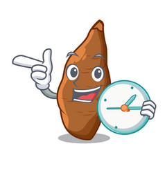 With clock cassava root on the plate cartoon vector