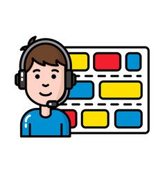 Worker in control tower with headset and schedule vector