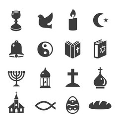 world religious symbols black icons set isolated vector image