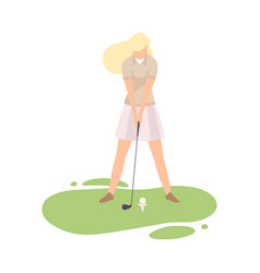young blonde woman playing golf girl golfer vector image