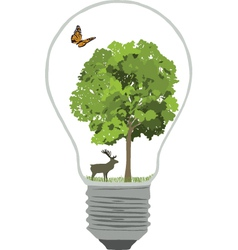 Bulb with tree and butterfly vector image