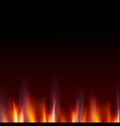 burn flame fire dark background vector image