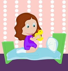 Cartoon little girl dressed in socks plays with a vector image vector image