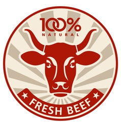Label with the head of a cow vector image vector image