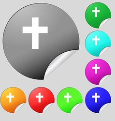 Religious cross christian icon sign set of eight vector