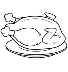 roast chicken outline vector image vector image