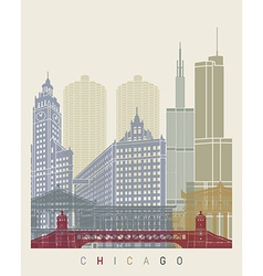 Chicago skyline poster vector