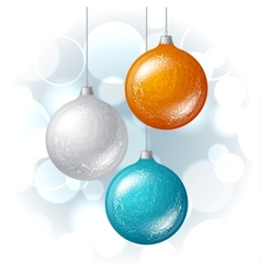 Christmas background with brilliant glossy balls vector image