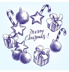 Christmas decorations hand drawn vector image