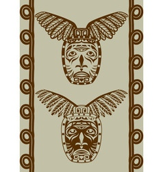 Native American mask with pattern vector image vector image