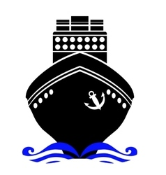 Ship Black Silhouette vector image vector image