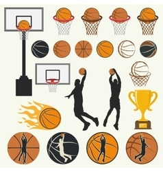 silhouettes of basketball vector image vector image