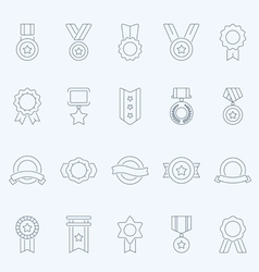 Badge Awards thin outline stroke icons vector image