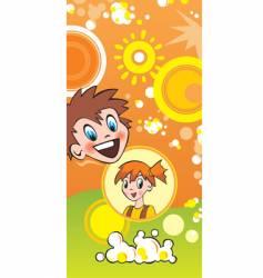 children and popcorn vector image vector image