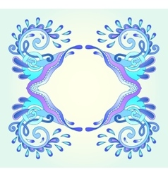 Decorative aquatic blue frame with wave vector