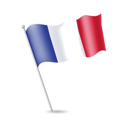 flag of france on the flagstaff vector image