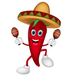 Happy chili pepper cartoon dancing with maracas vector image