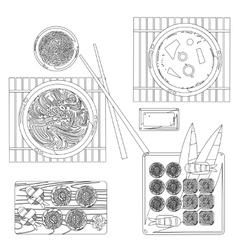 Japanese food contour drawing in black and vector image