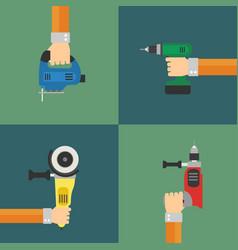 Power tools set flat design style vector