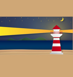 sea and beach with lighthouse at night paper art vector image