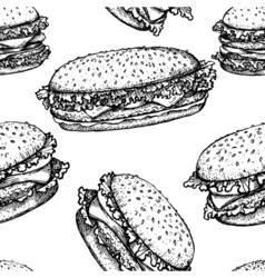 Sketch hamburger or burger seamless pattern fast vector image