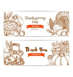 Thanksgiving greeting banners cards set vector image