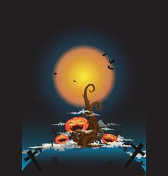 tree and halloween pumpkin at night vector image