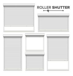 white roller shutters window door garage vector image