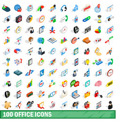 100 office icons set isometric 3d style vector image