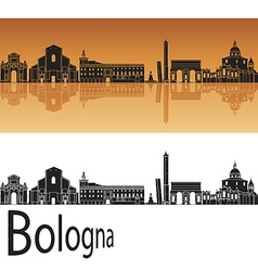 Bologna skyline in orange background vector image vector image