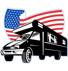 Camper van with american flag stars and stripes vector image