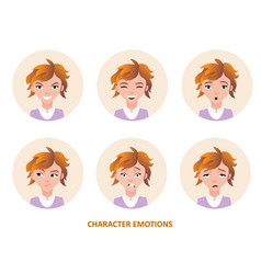 character avatars emotions in circle vector image